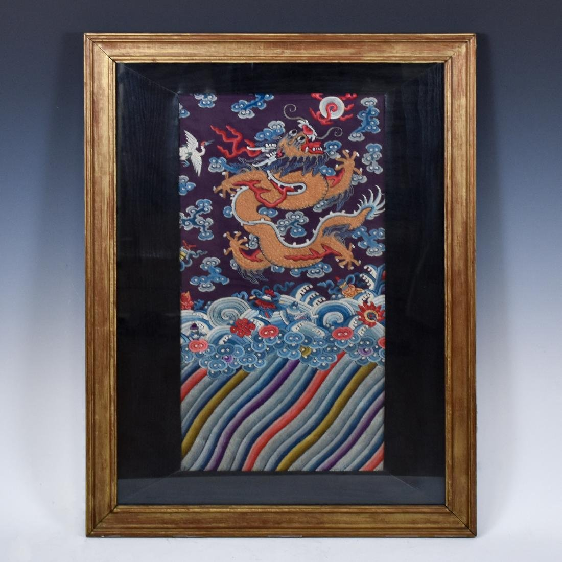 18TH C EMBROIDERY SILK IMPERIAL DRAGON RANK BADGE