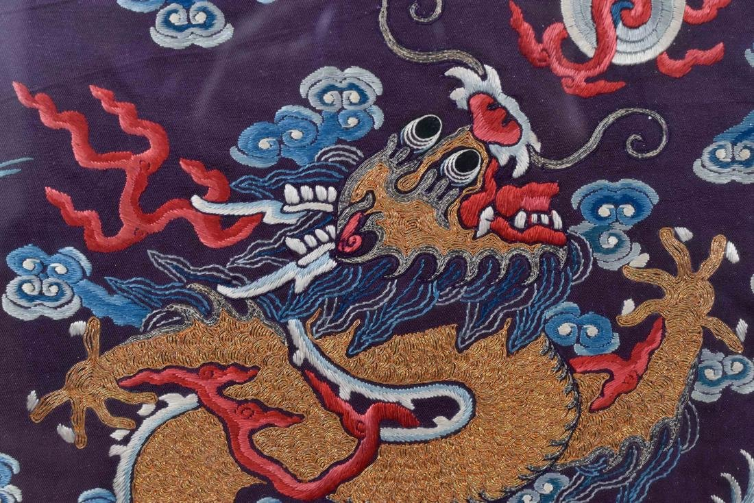 18TH C EMBROIDERY SILK IMPERIAL DRAGON RANK BADGE - 4