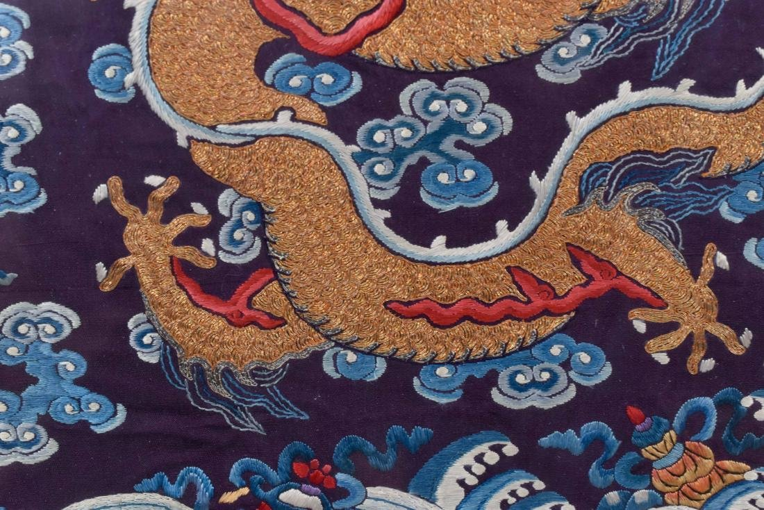 18TH C EMBROIDERY SILK IMPERIAL DRAGON RANK BADGE - 5