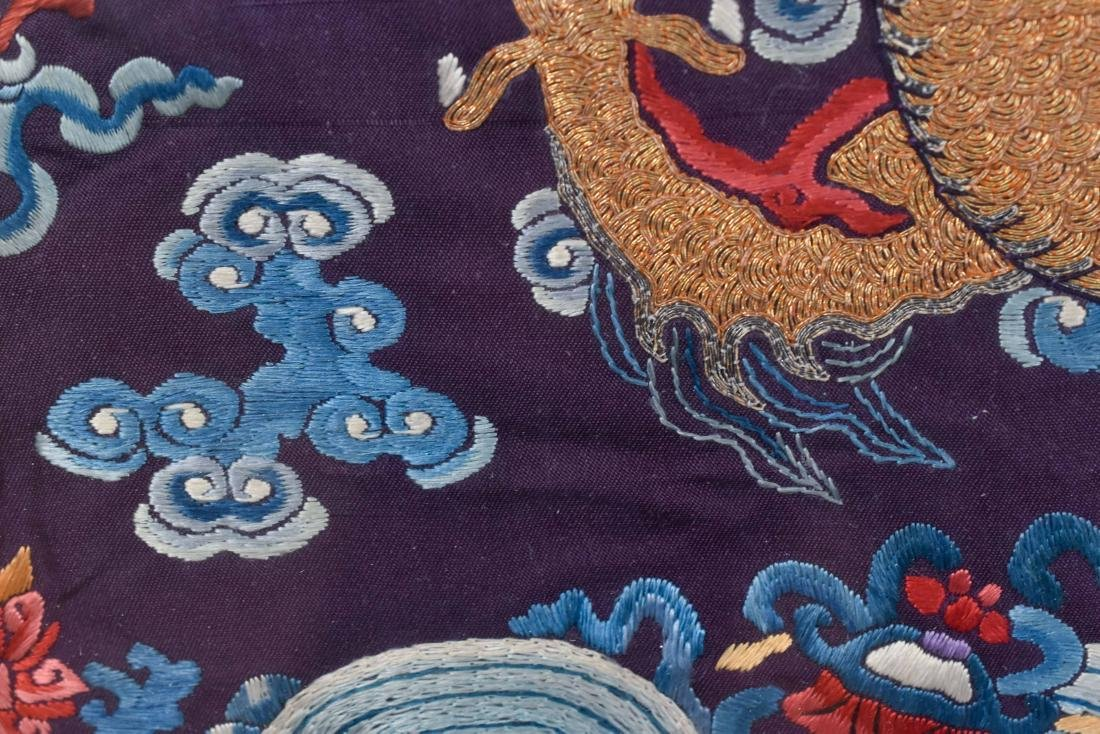 18TH C EMBROIDERY SILK IMPERIAL DRAGON RANK BADGE - 8
