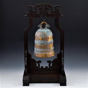CHINESE GILTBRONZE RITUAL BELL ON STAND