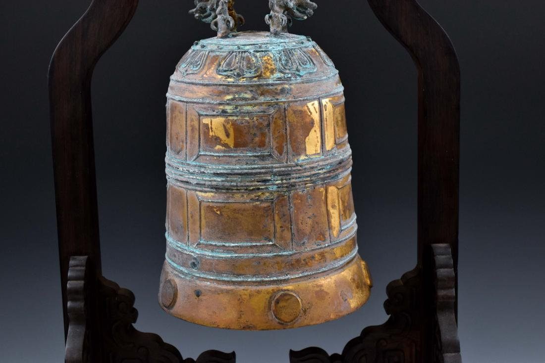 CHINESE GILT-BRONZE RITUAL BELL ON STAND - 4