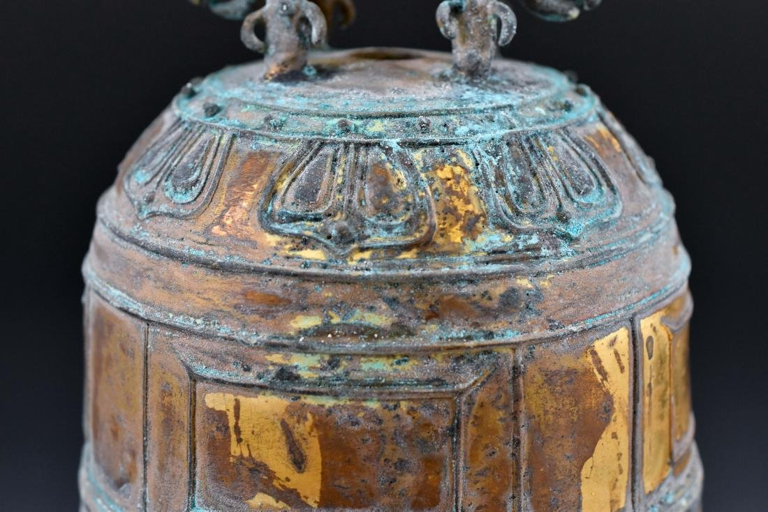 CHINESE GILT-BRONZE RITUAL BELL ON STAND - 5