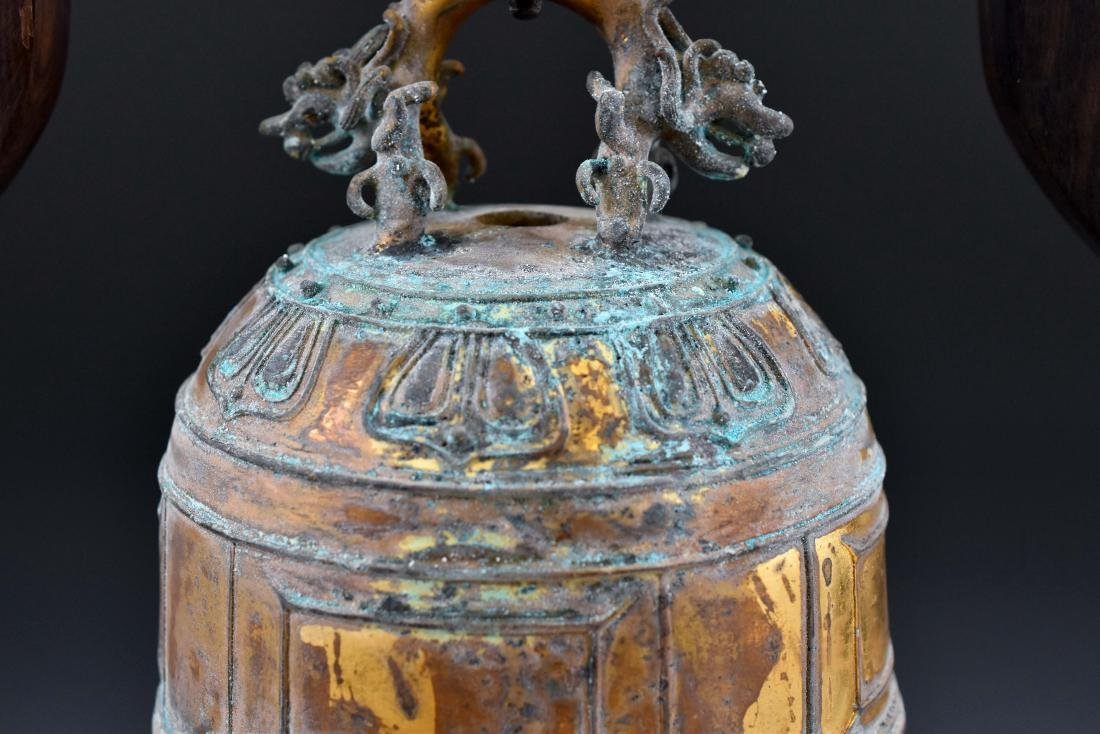 CHINESE GILT-BRONZE RITUAL BELL ON STAND - 7