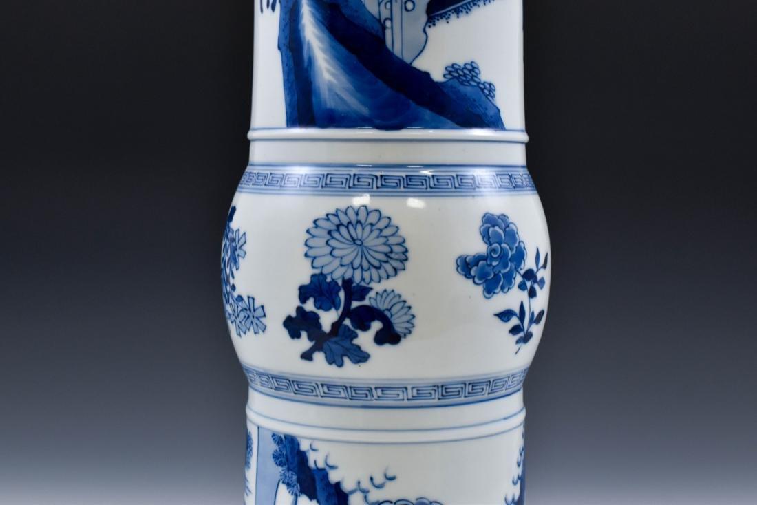 FINE CHINESE BLUE & WHITE PORCELAIN GU VASE - 6