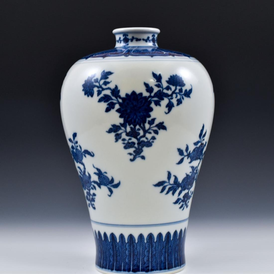 CHINESE BLUE AND WHITE CAMELIA MEIPING VASE - 2