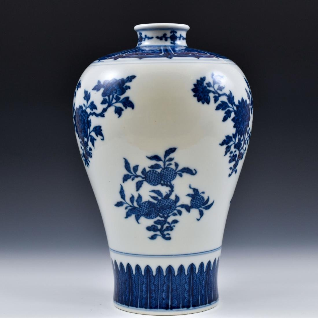 CHINESE BLUE AND WHITE CAMELIA MEIPING VASE - 3