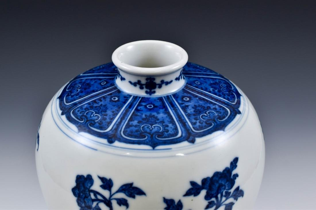 CHINESE BLUE AND WHITE CAMELIA MEIPING VASE - 8