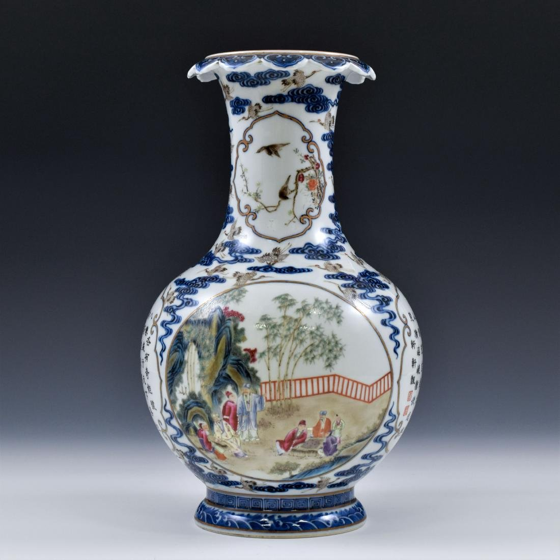 HUNDRED CRANES FAMILLE ROSE OPEN FACE VASE - 3