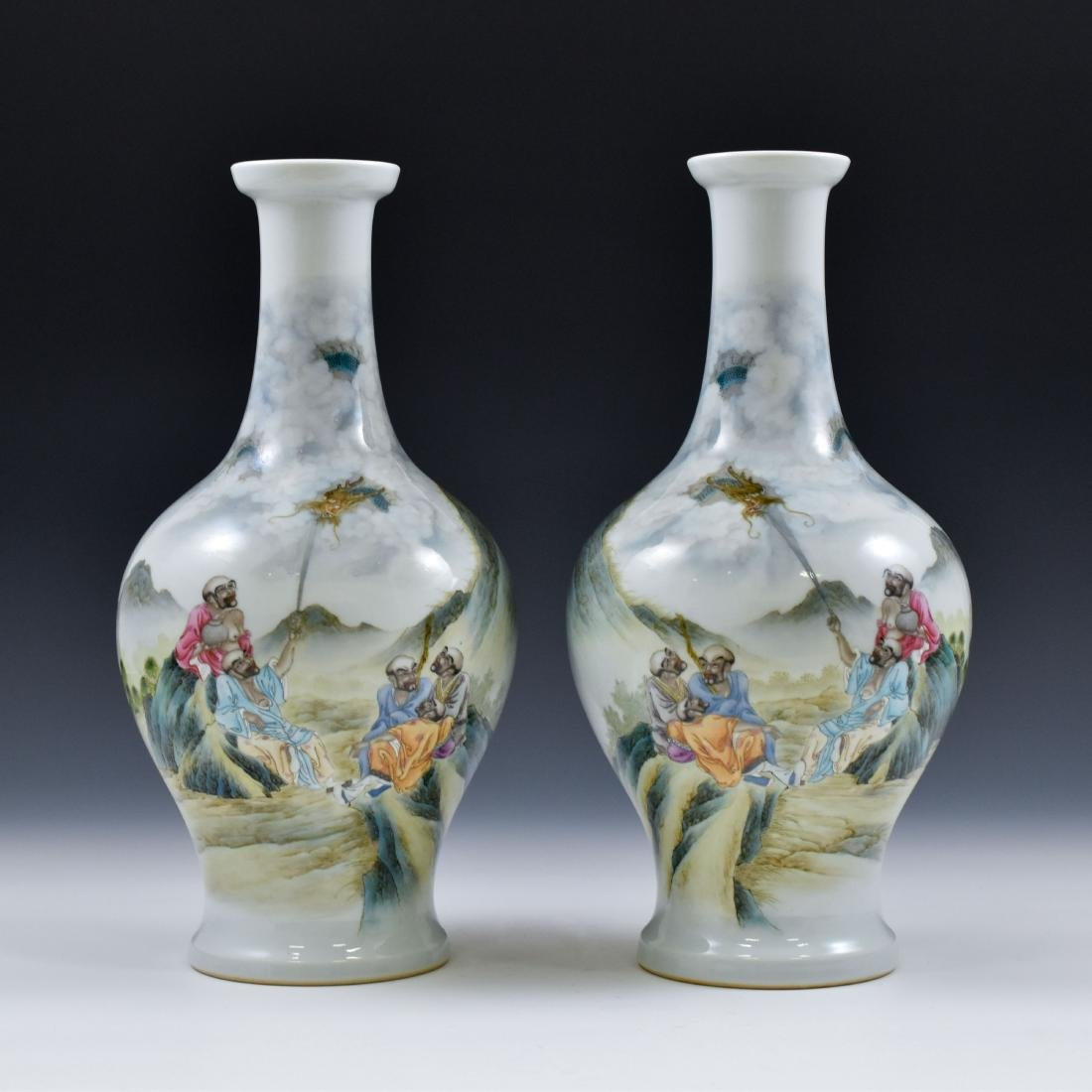 PAIR OF WILLOW LEAF PORCELAIN VASES