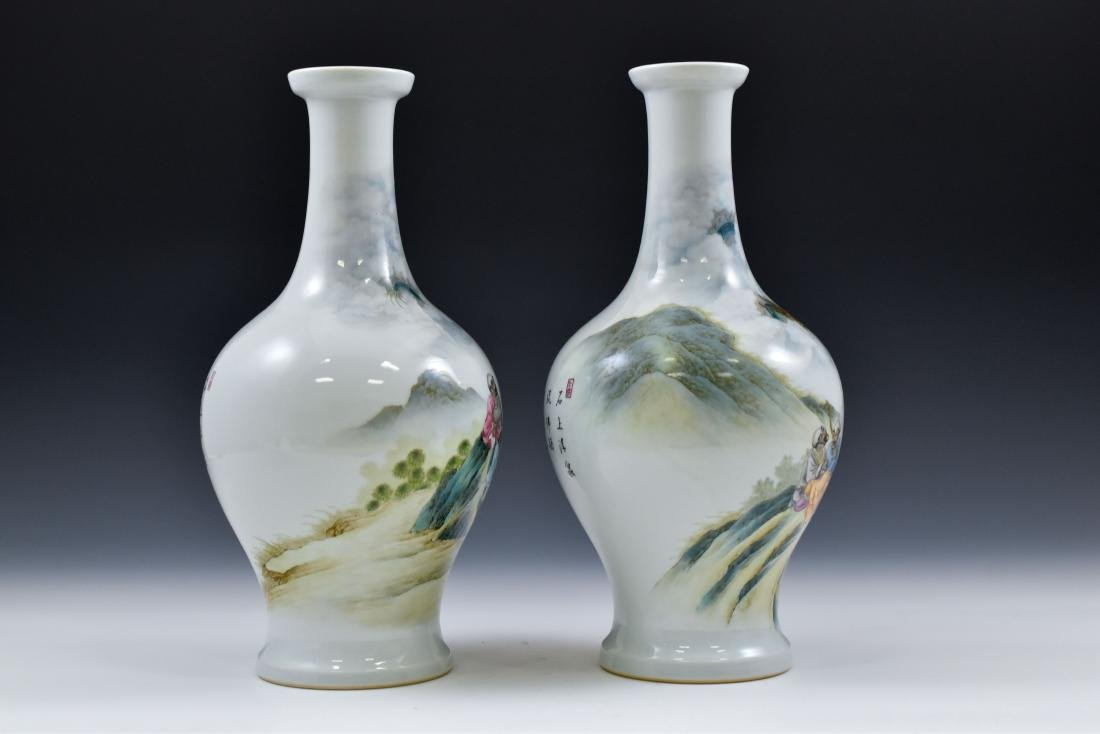 PAIR OF WILLOW LEAF PORCELAIN VASES - 2