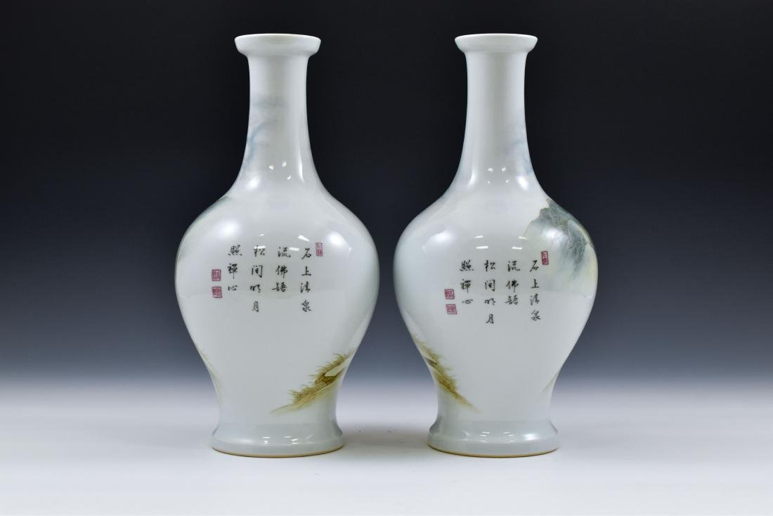 PAIR OF WILLOW LEAF PORCELAIN VASES - 3