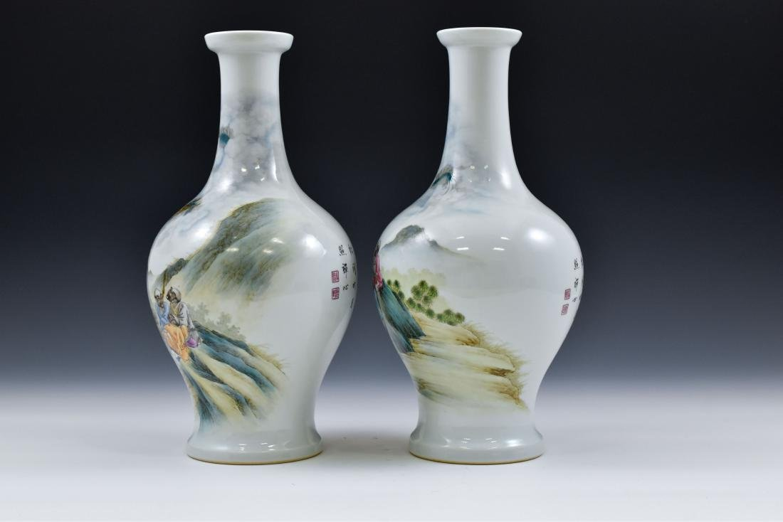 PAIR OF WILLOW LEAF PORCELAIN VASES - 4