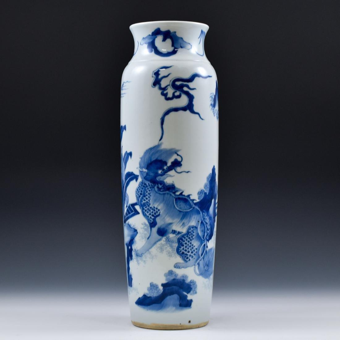FINE BLUE AND WHITE ELEPHANT LEG VASE - 4