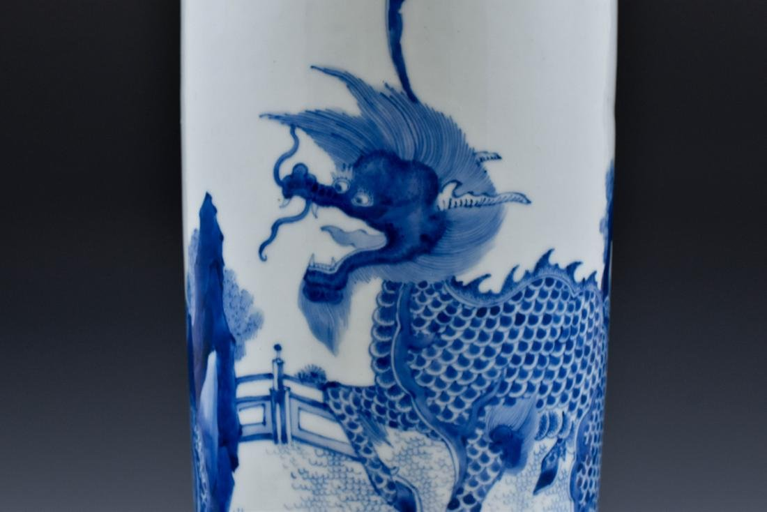 FINE BLUE AND WHITE ELEPHANT LEG VASE - 7