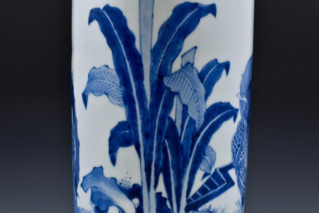 FINE BLUE AND WHITE ELEPHANT LEG VASE - 8