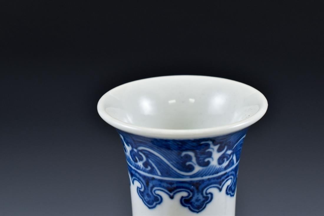 BLUE AND WHITE LOTUS CLESTIAL VASE - 5