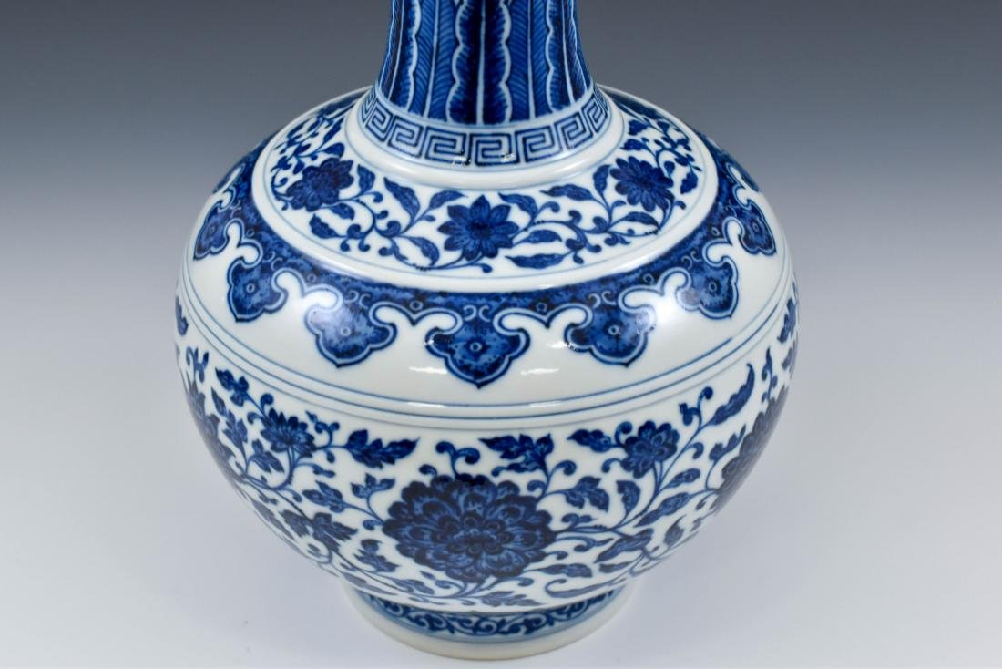 BLUE AND WHITE LOTUS CLESTIAL VASE - 8