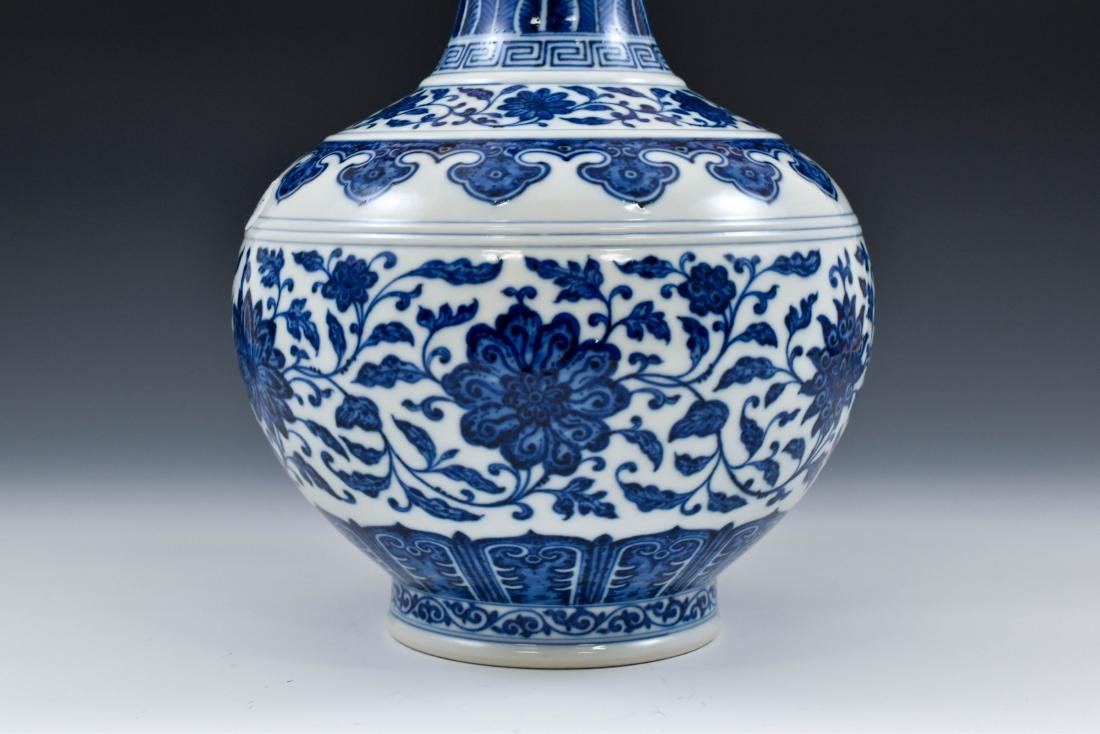 BLUE AND WHITE LOTUS CLESTIAL VASE - 9
