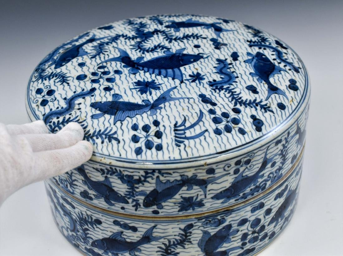 QING CHINESE PORCELAIN INK BOX - 10
