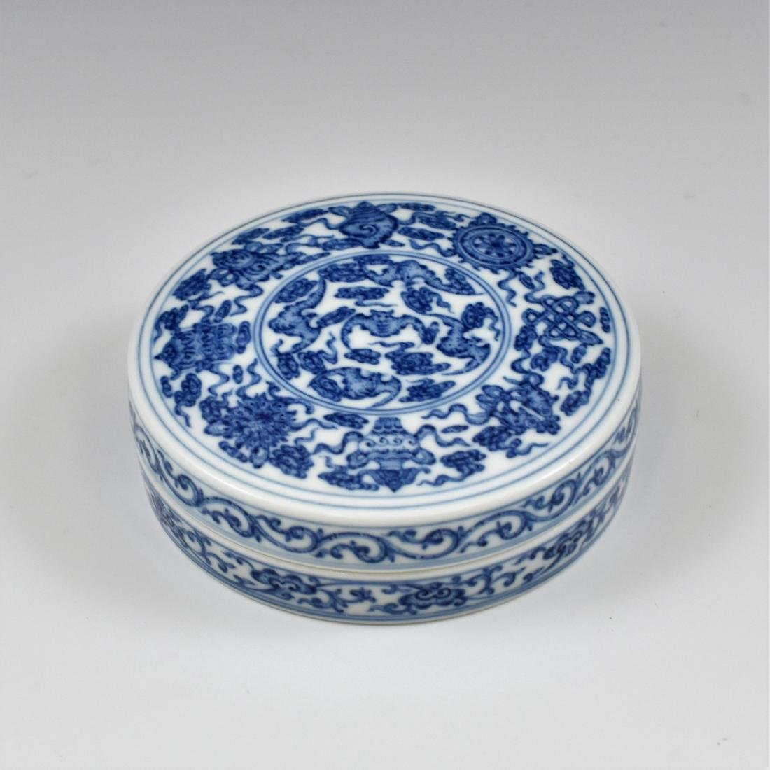 QING CHINESE PORCELAIN INK BOX - 2