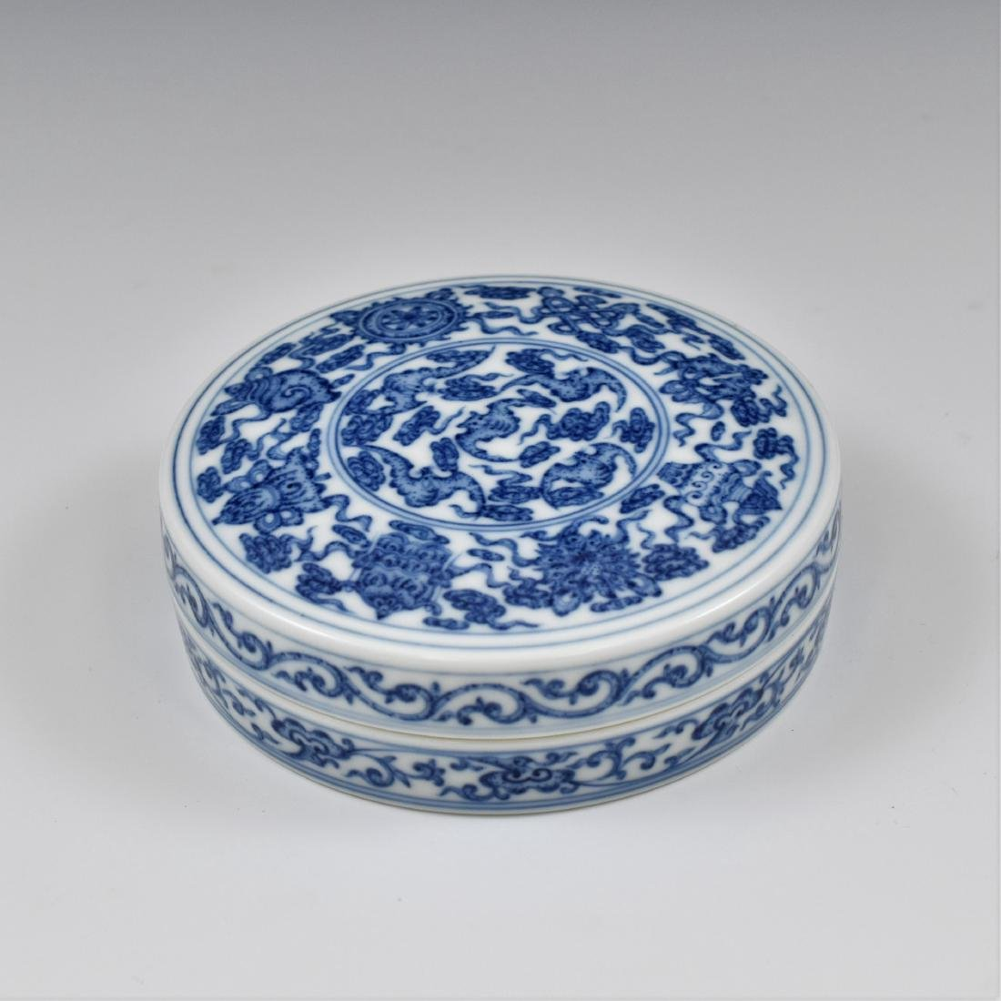 QING CHINESE PORCELAIN INK BOX - 4