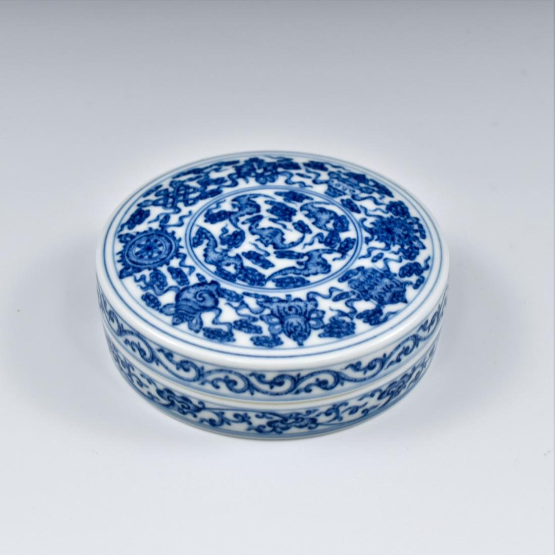 QING CHINESE PORCELAIN INK BOX - 5