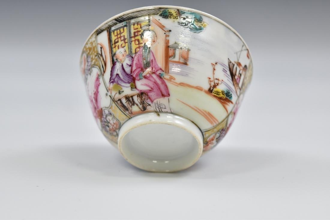 CHINESE EXPORT FAMILLE ROSE AND GILT PORCELAIN TEA CUP - 10