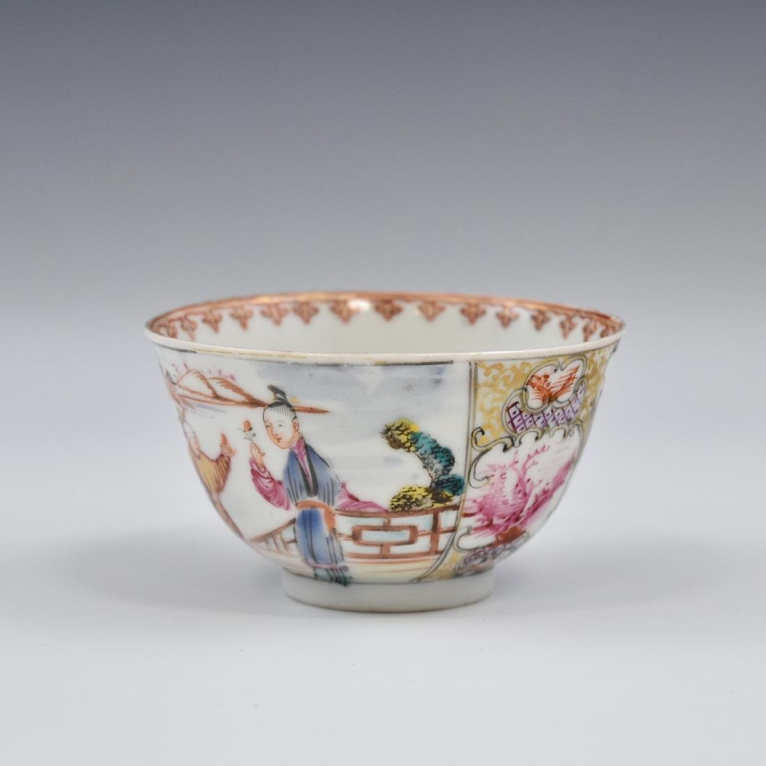 CHINESE EXPORT FAMILLE ROSE AND GILT PORCELAIN TEA CUP
