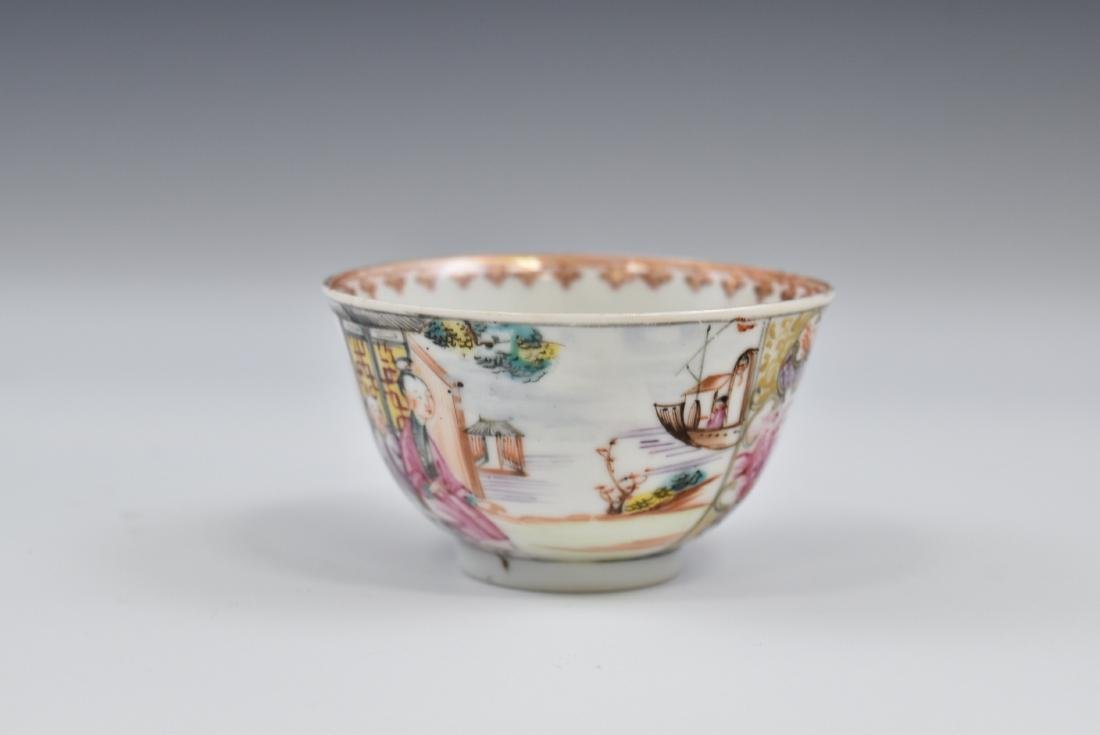 CHINESE EXPORT FAMILLE ROSE AND GILT PORCELAIN TEA CUP - 5