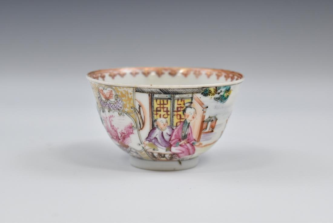CHINESE EXPORT FAMILLE ROSE AND GILT PORCELAIN TEA CUP - 6