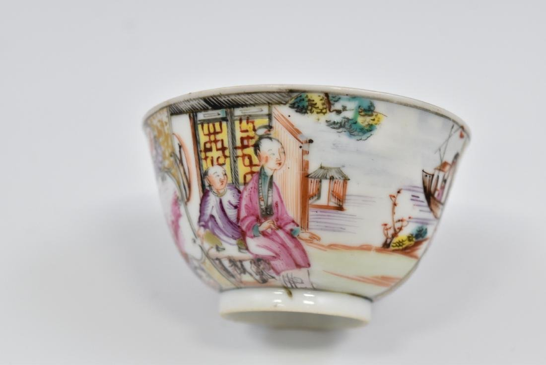 CHINESE EXPORT FAMILLE ROSE AND GILT PORCELAIN TEA CUP - 9