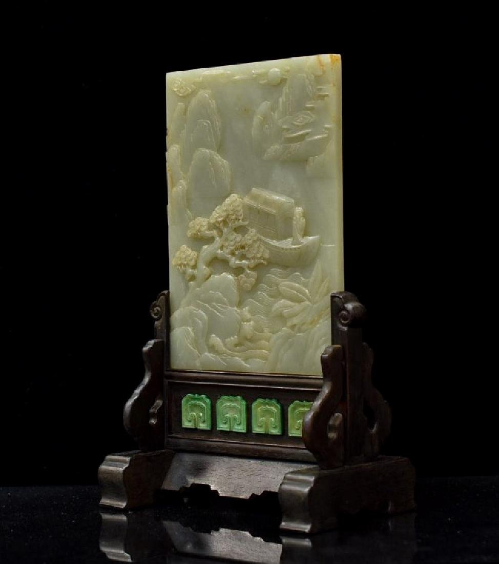 CARVED JADE TABLE SCREEN OF BOAT