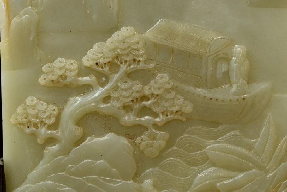 CARVED JADE TABLE SCREEN OF BOAT - 5