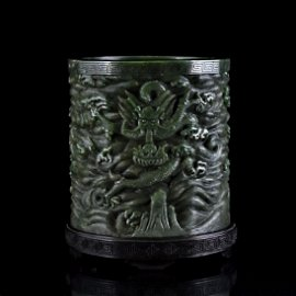 CHINESE SPINACH-GREEN JADE DRAGON BRUSH POT