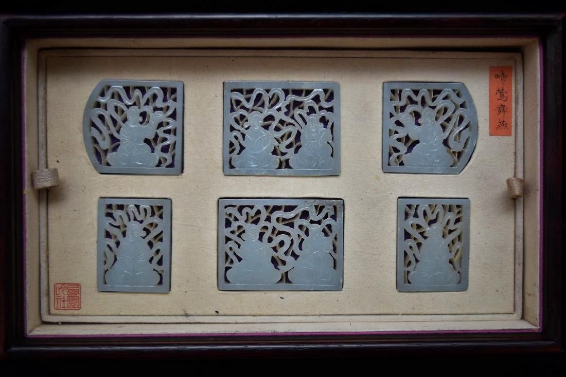 SET OF 13 CARVED JADE MEDALIONS AND PLAQUES IN A BOX - 3