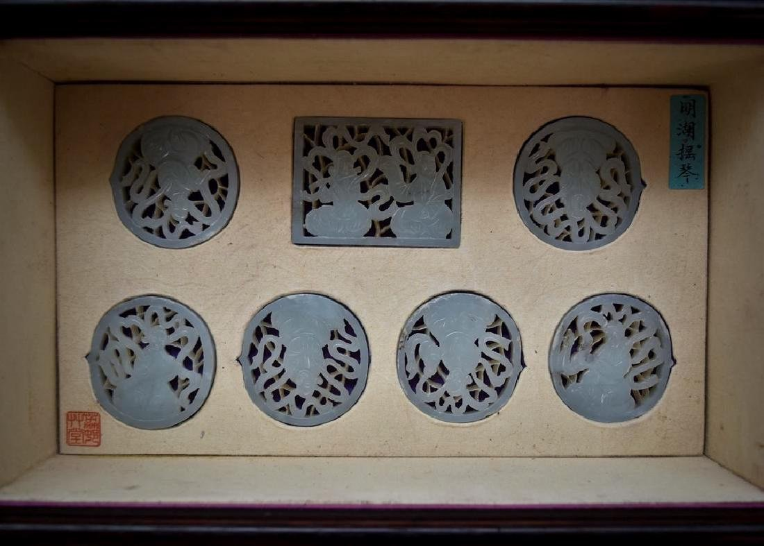 SET OF 13 CARVED JADE MEDALIONS AND PLAQUES IN A BOX - 8