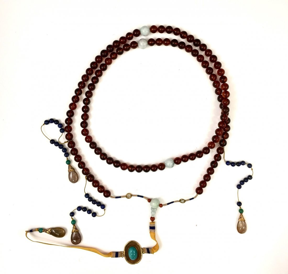 CHINESE AMBER COURT NECKLACE CHAOZHU BEADS