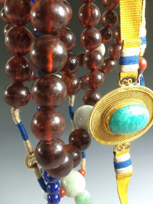CHINESE AMBER COURT NECKLACE CHAOZHU BEADS - 2