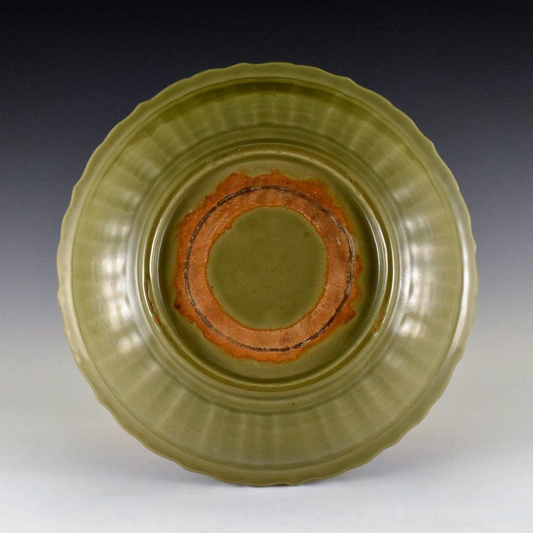 CARVED PEONY LONGQUAN CELADON BARBED-RIM CHARGER - 2