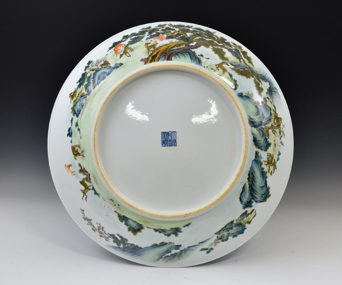 HUNDRED DEER FAMILLE ROSE PORCELAIN CHARGER - 2