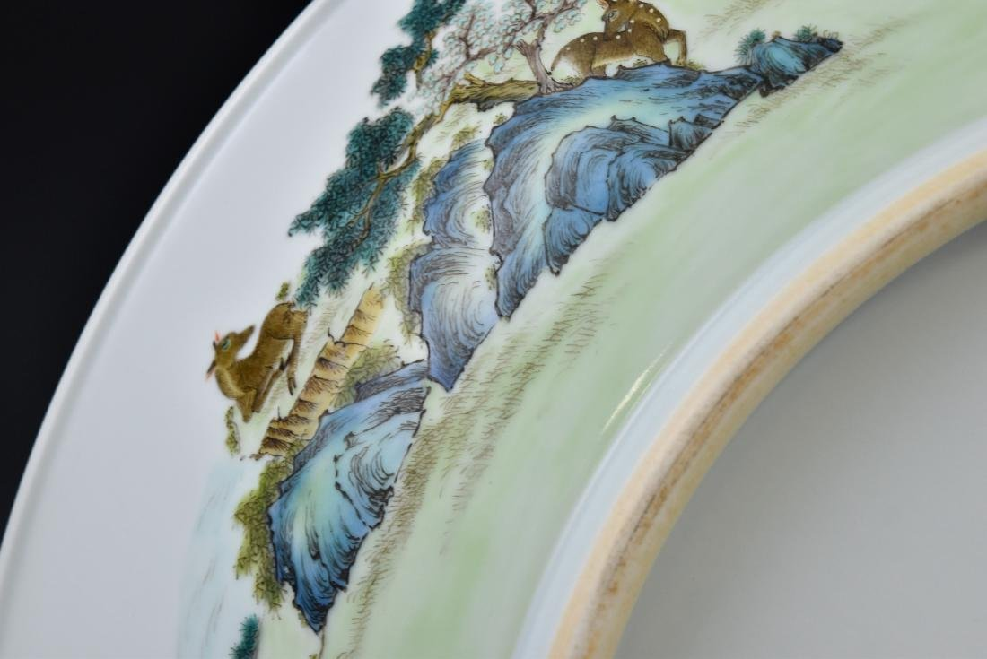 HUNDRED DEER FAMILLE ROSE PORCELAIN CHARGER - 4