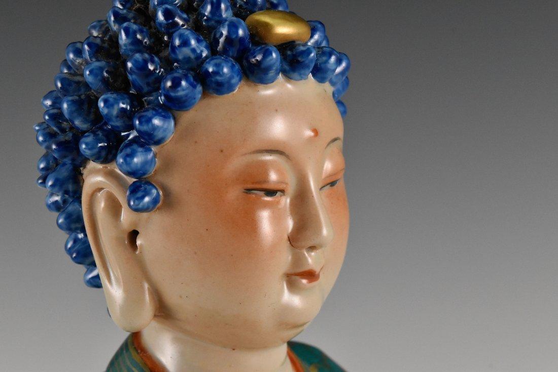 QING DYNASTY FAMILLE ROSE & GILT PORCELAIN BUDDHA - 10