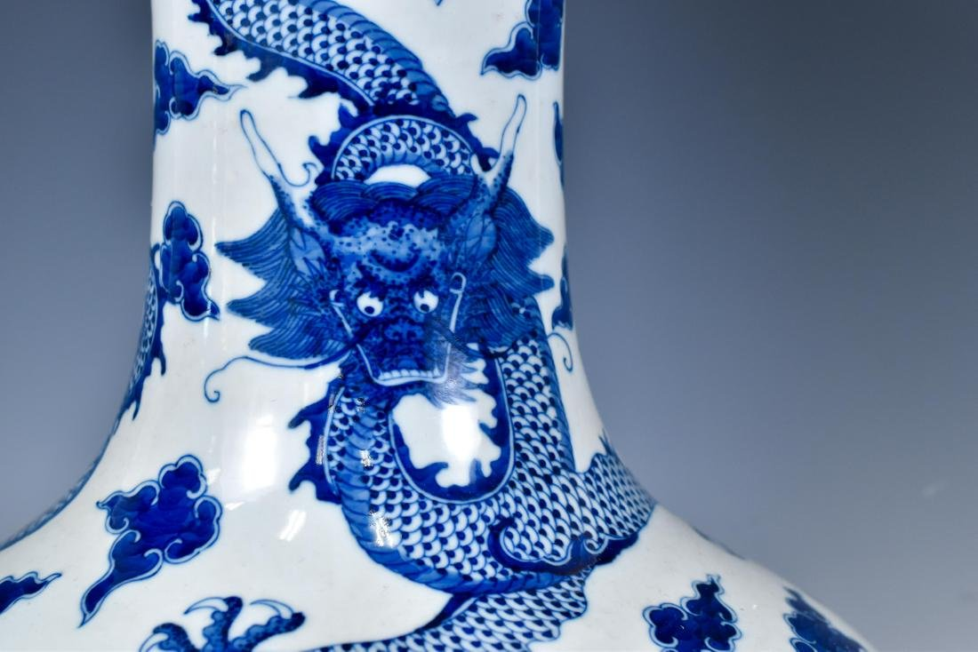 BLUE & WHITE DRAGON CELESTIAL VASE ON STAND - 5