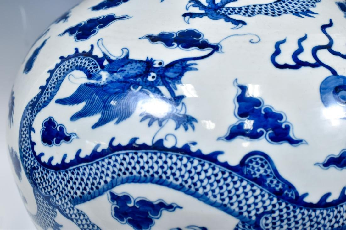 BLUE & WHITE DRAGON CELESTIAL VASE ON STAND - 6