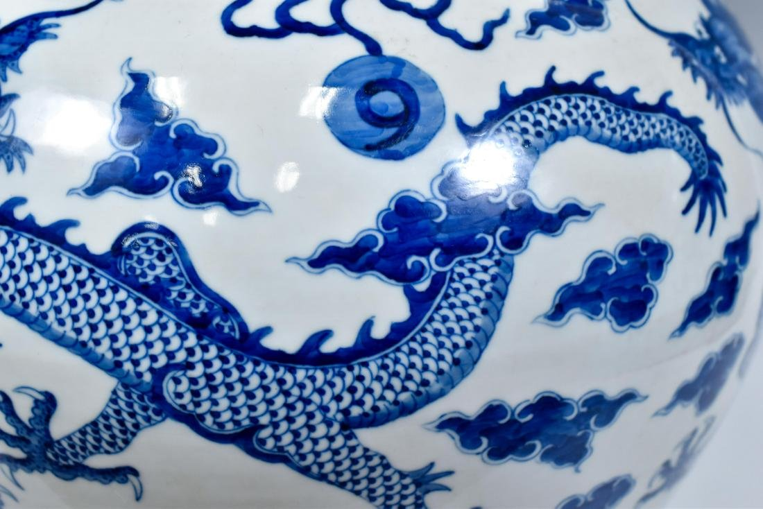 BLUE & WHITE DRAGON CELESTIAL VASE ON STAND - 7