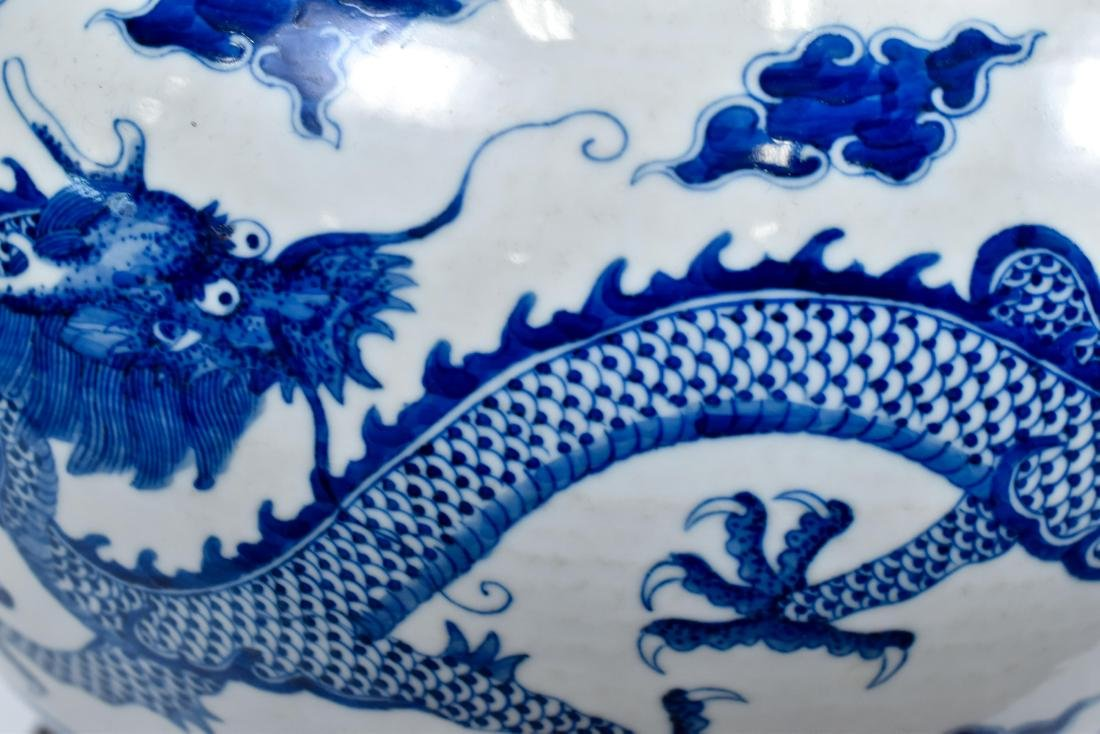 BLUE & WHITE DRAGON CELESTIAL VASE ON STAND - 9