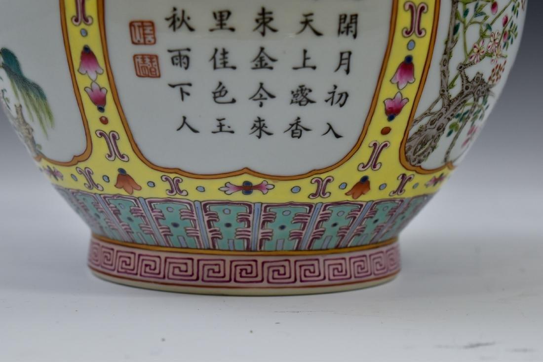 CHINESE SGRAFFIATO-GROUND FAMILLE JAUNE VASE - 7
