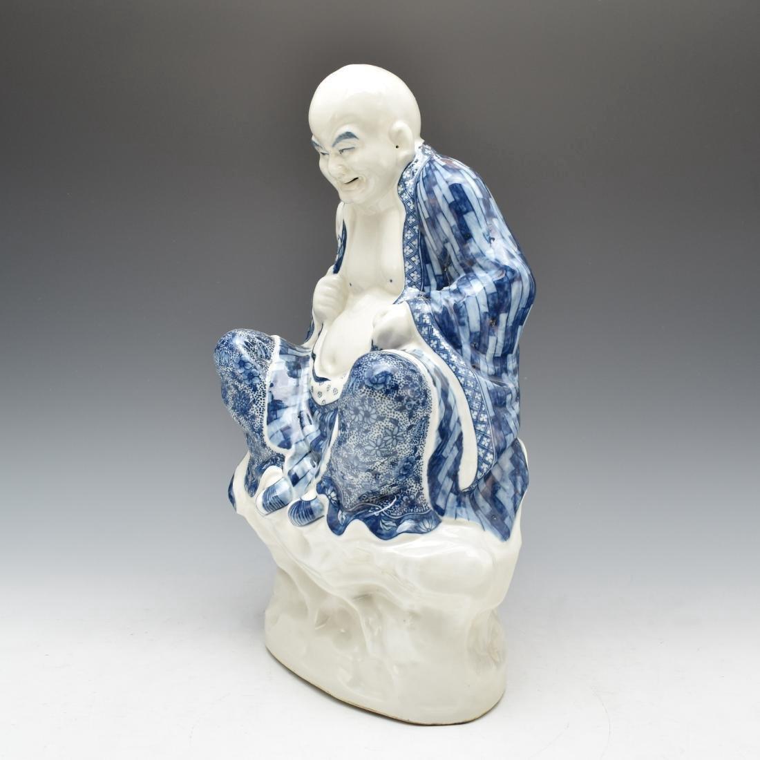 BLUE UNDERGLAZED PORCELAIN SEATED BUDDHA - 2