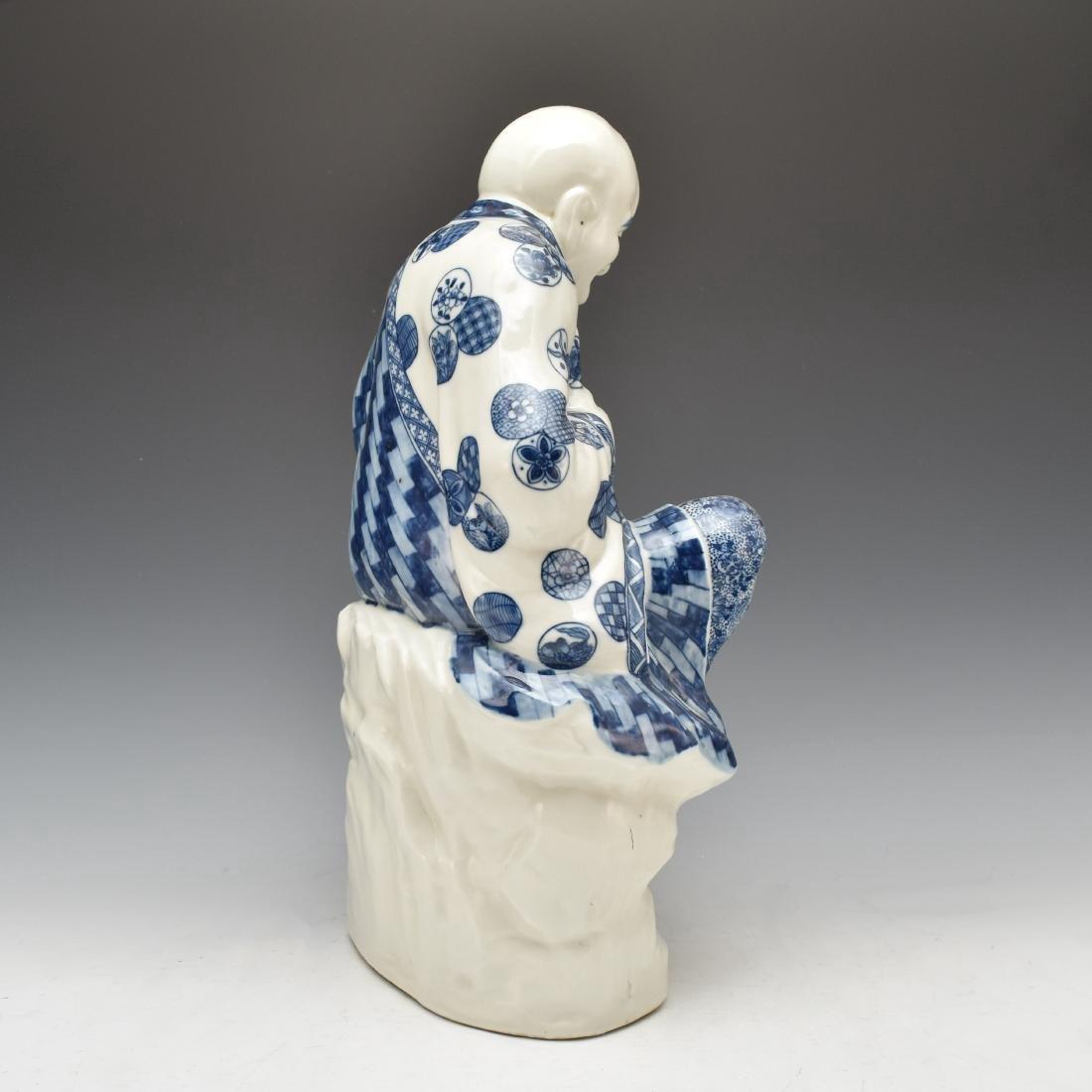 BLUE UNDERGLAZED PORCELAIN SEATED BUDDHA - 4